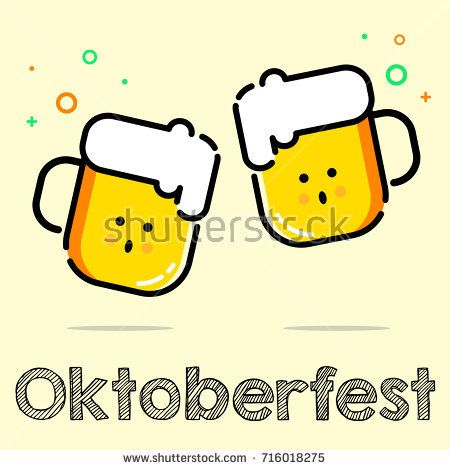 Oktoberfest illustration. Two glass beer icon for poster, banner, background and emblem
