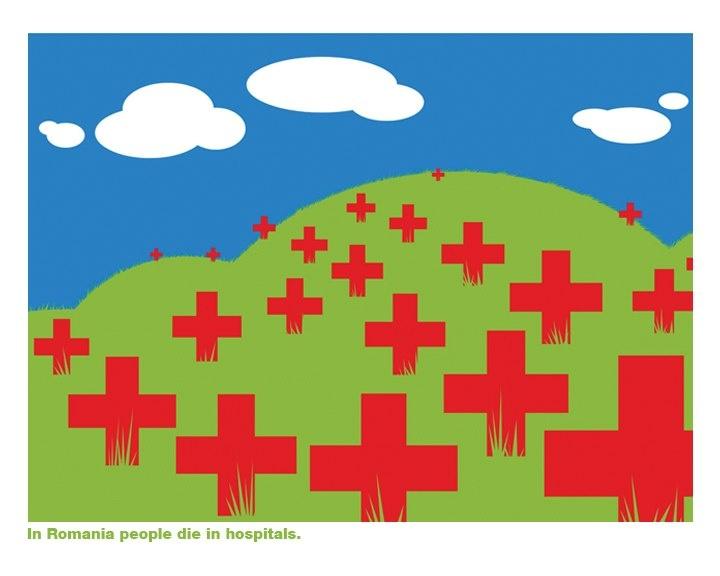 In Romania people die in hospitals