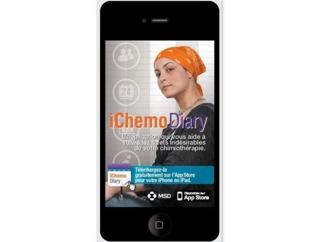 iChemoDiary est un journal personnel qui vous permet de suivre certains effets indésirables liés à la chimiothérapie. L'application développée par MSD est présenté par Emmanuelle Lomenède à Doctors 2.0 en juin 2013. http://www.rosemagazine.fr/Me-faire-aider/Mes-bons-plans/Mon-web/Articles/IChemo-Diary-9716/?menu