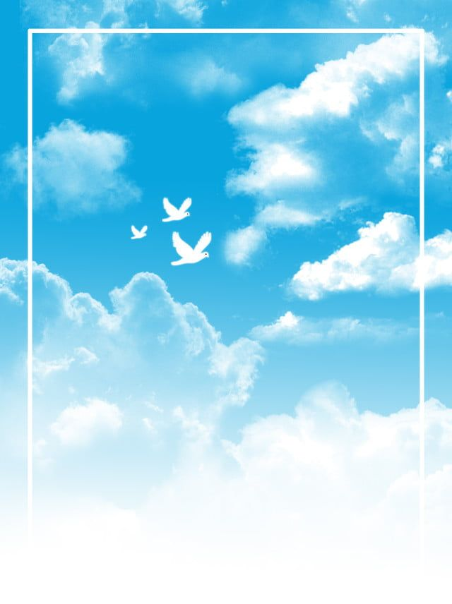 Simple Blue Sky And White Clouds Background Illustration Blue Sky Background Green Background Video Clouds