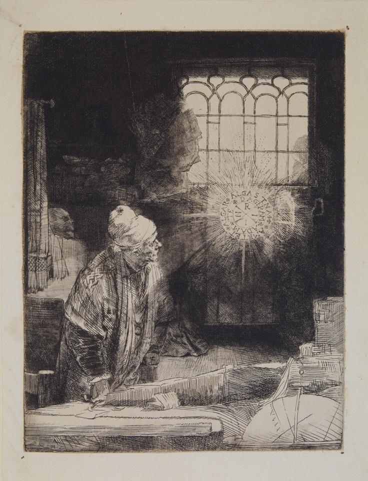 """Rembrandt Harmenszoon van Rijn,  """"Faust"""" o l'alchimista nel suo studio, 1652 ca.,  Pavia, Musei Civici"""
