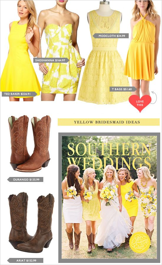 6df9eef8e542c7 Images of Yellow Bridesmaid Dress With Cowboy Boots - #rock-cafe