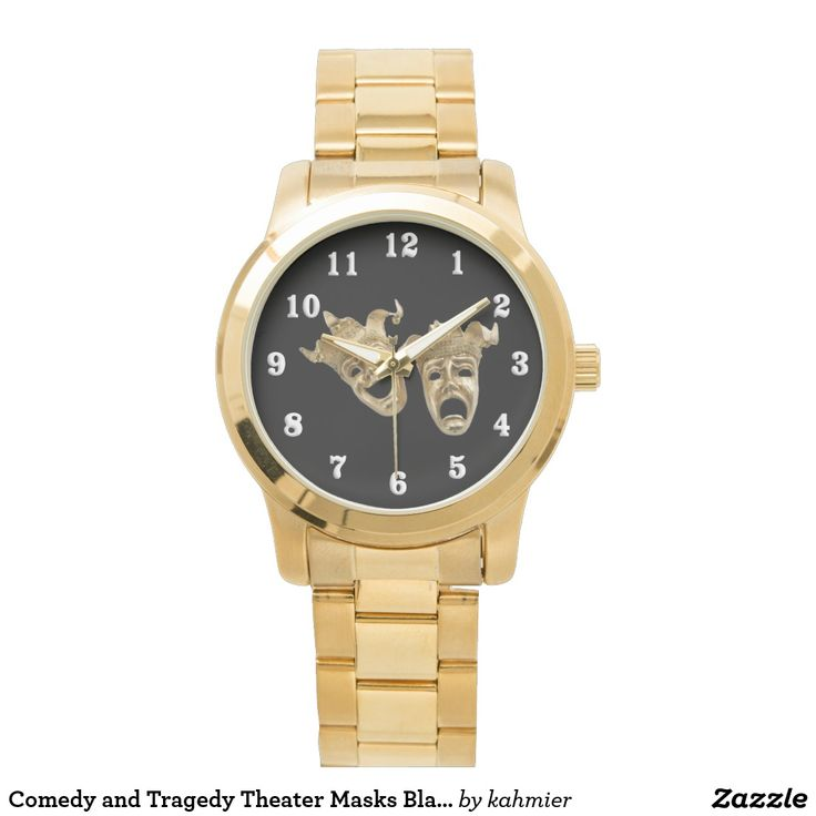 Comedy and Tragedy Theater Masks Black Wrist Watch