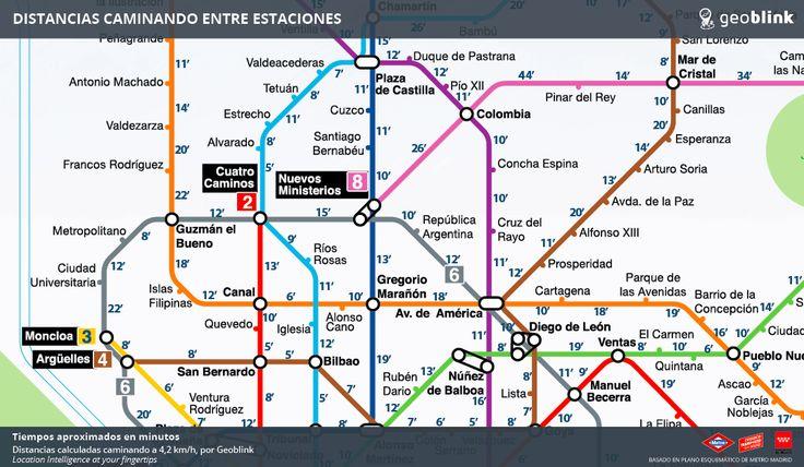 Distancias caminando entre las estaciones de #metro Madrid http://www.geoblink.com/blog/wp-content/uploads/2016/06/Distancias-Metro-Madrid.png