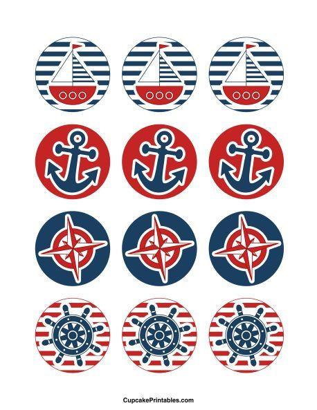Nautical cupcake toppers. Use the circles for cupcakes, party favor tags, and more. Free printable PDF download at http://cupcakeprintables.com/toppers/nautical-cupcake-toppers/