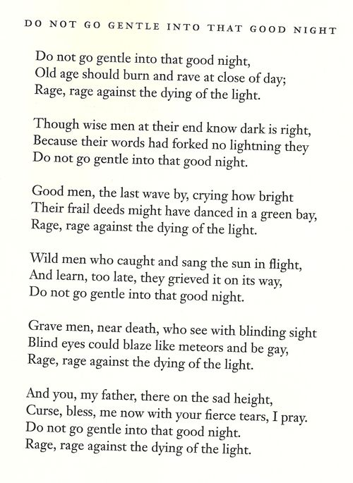 quote rage against the dying of the light -