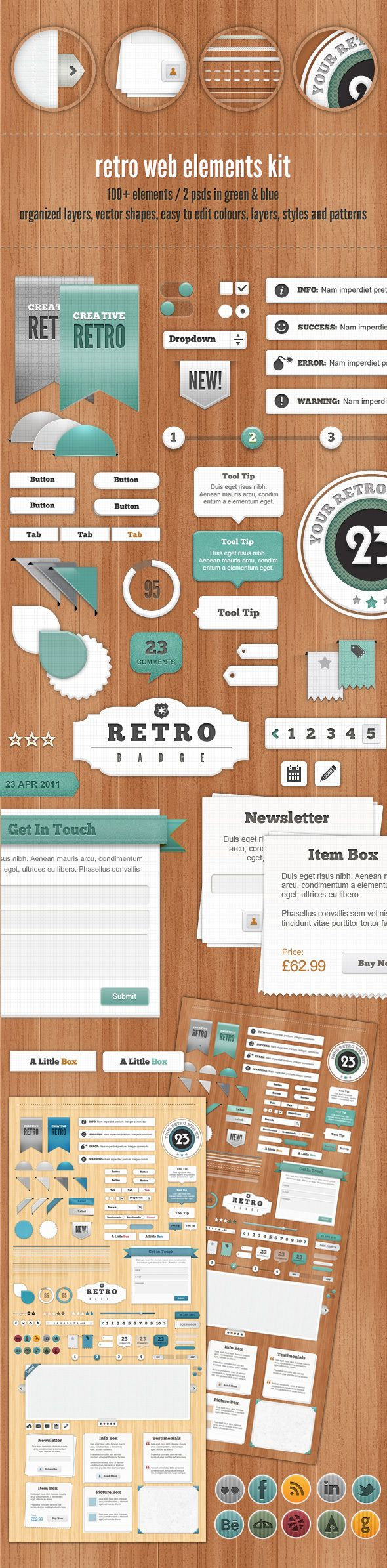 An average example of a patterned background and elements on top. Seems to be a lot of artificial noise on this though.    - Retro Web Elements - Blue & Green Collection by Jo Phillips, via Behance