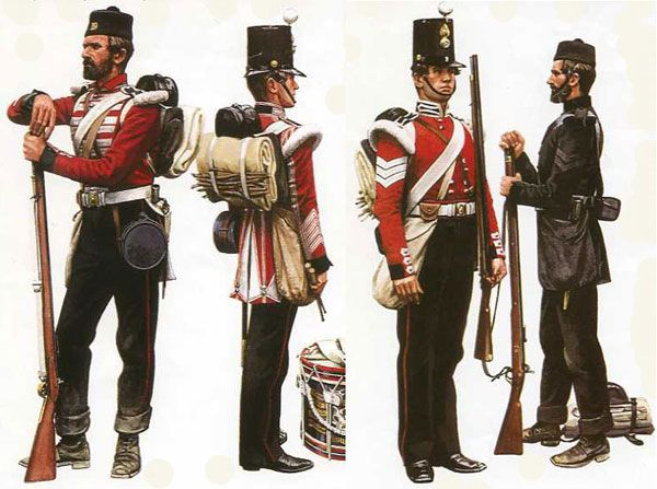 "(From left to right) Private, Center Coy, 19th Foot; Drummer, Grenadier Coy, 19th Foot; Sergeant, Grenadier Coy, 23rd Foot; The Rifle Brigade (Artist: Pierre Turner in Barthorp ""British Army on Campaign- 2: Crimea 1854-56)"