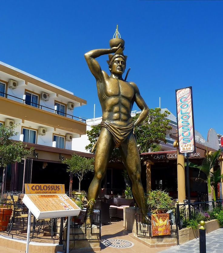 Colossus of Rhodes statue at a bar in Faliraki, Greece