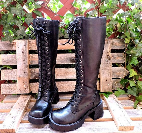 Black knee high combat boots size 6