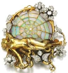 Sothebys; Lot 423: Gem set and diamond brooch/pendant by Henrie-Auguste Solié, circa 1900