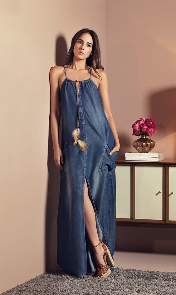 Vestidos jeans | vestidos modernos | Dresses, Denim attire, Denim fashion