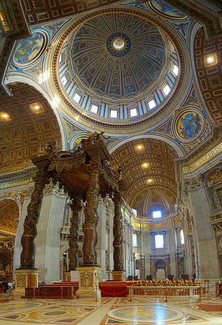 St Peter's Basilica - Vatican City, Rome, Italy. I have never seen a Cathedral more beautiful than this.