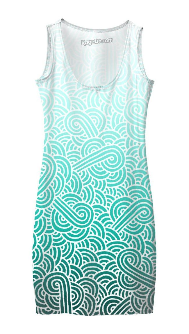 Ombre turquoise blue and white swirls doodles Bodycon Dress by @savousepate on RageOn! #gradient #mint #cyan #aqua #caribbean #amazonite #aquamarine #teal #turquoise