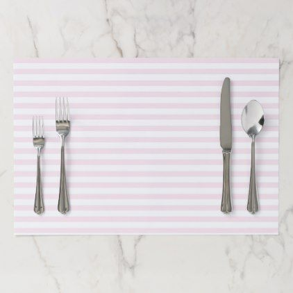 Blush Pink & White Striped Paper Placemat - baby gifts child new born gift idea diy cyo special unique design