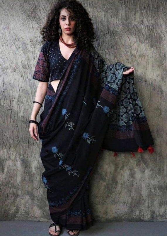 Women Pompom Sari Hand Block Printed Soft Malmal Cotton Sari With Free Shipping