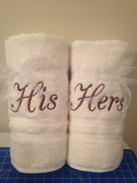 2nd Anniversary Cotton - His and Hers Towels by AlwaysInStitches1 on Etsy, $25.00