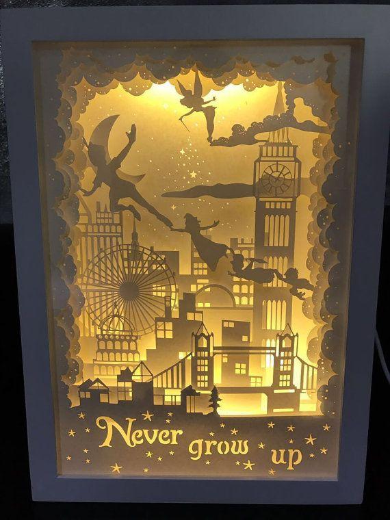 Silhouette Peter pan paper cut Light box Night light never grow up birthday gift idea shadow box kids baby nursery room art lightbox