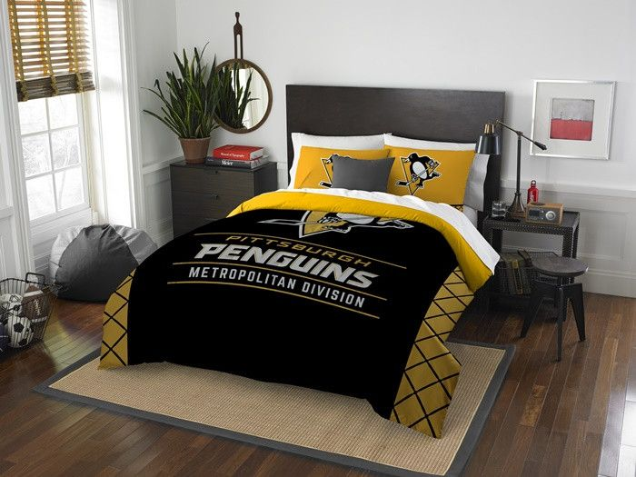 Amazing Pittsburgh Penguins NHL Draft Full Queen Comforter Set. Includes 2 Shams  And Comforter.