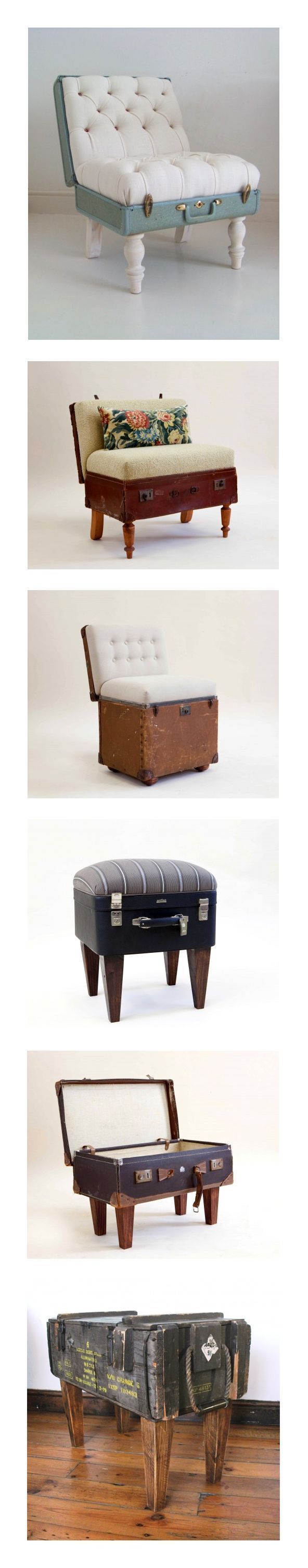 UPCYCLING :: Take and old suitcase & a few upholstery skills & you have yourself a unique chair ♥ | #repurpose #stools #upcycle