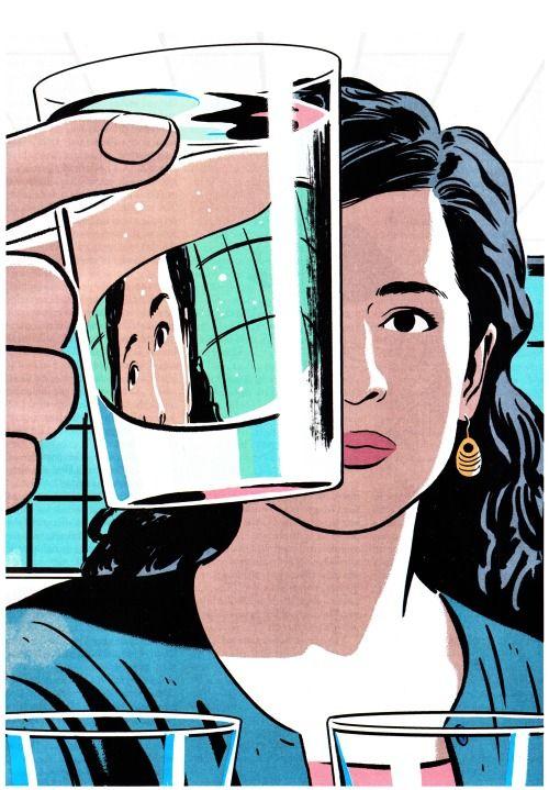 "theblackestofsuns:  ""R. Kikuo Johnson's illustration of Maya Shankar for Sarah Stillman's article in this week's New Yorker magazine.  """
