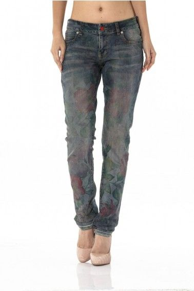 in full bloom. denim bauhinia skinny jeans with paper transfer print. stone washed and hand shaved for a soft finish.