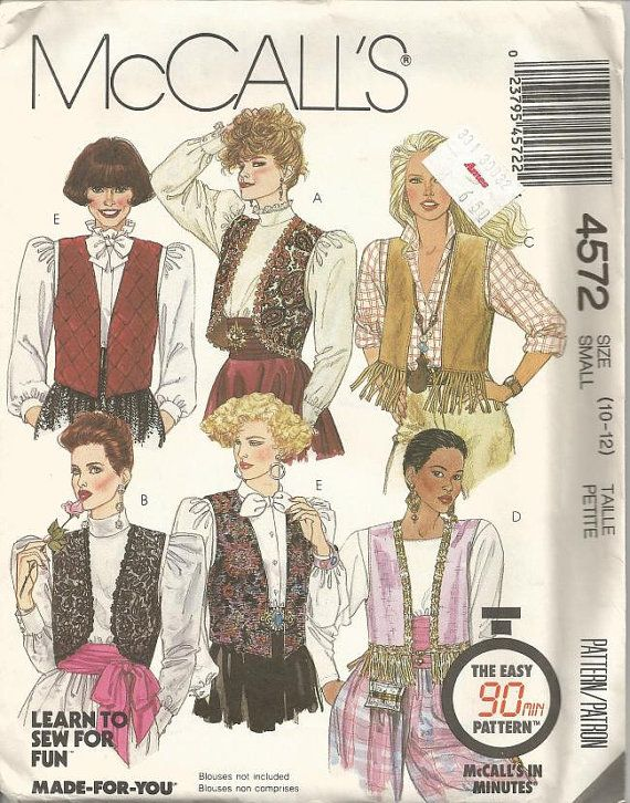 1980s Misses Vests Day Evening Rodeo Chic Six Styles by kinseysue