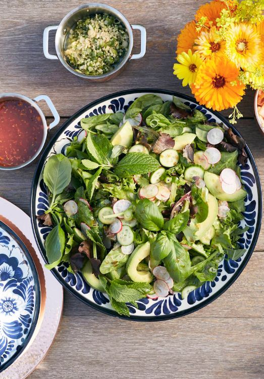 Farmers Market + Herb Salad with a Ginger Soy Vinaigrette from www.whatsgabycooking.com (@whatsgabycookin)
