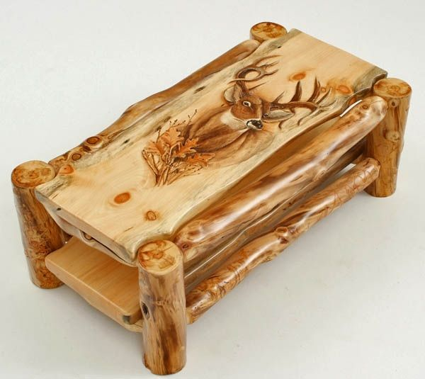 Natural Log Furniture   Aspen Mountain Man Coffee Table   Hand Carved Buck  With Oak Leaves