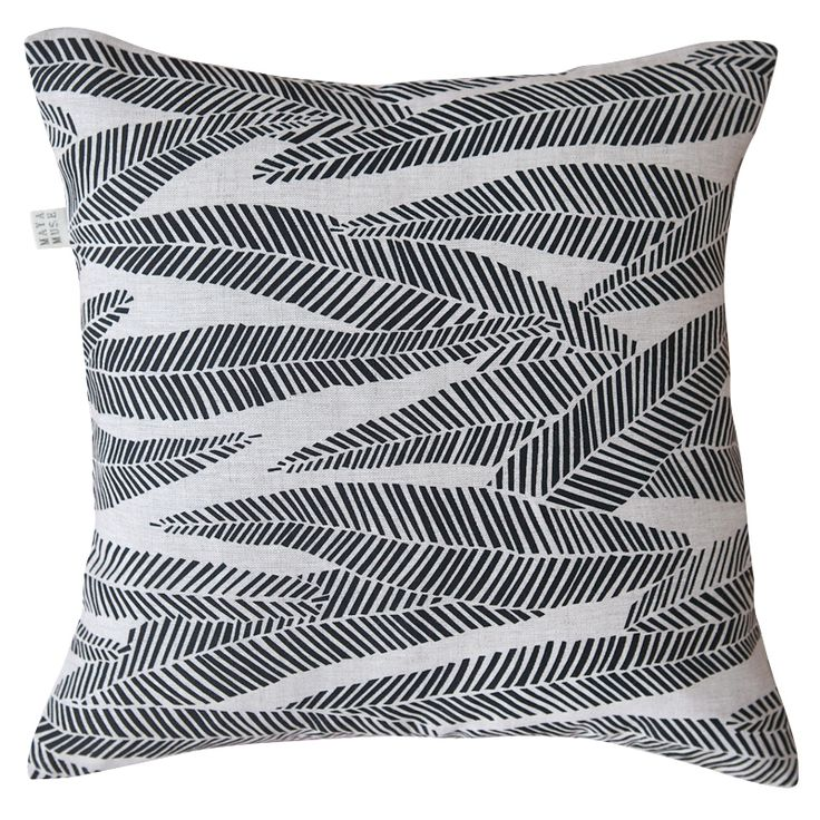 Eucalyptus square cushion cover in black on natural | hardtofind.