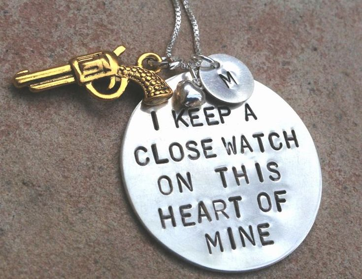 Johnny Cash,I Keep A Close Watch On This Heart Of Mine, Custom Hand Stamped, Close Watch, This Heart of Mine, Johny Cash Necklace. $77.00, via Etsy.