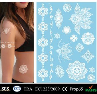 Sexy Temporary Tattoo Stickers White Lace Skin Tattoo v1|MEISHI-CMYK v1|CMYK Printing Tattoo Stickers