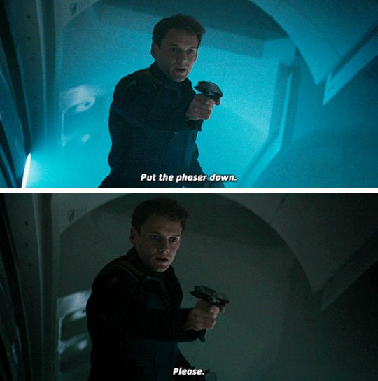 Meanwhile inside Chekov mind : I'm going to be wery badass in zhis moment . Oh crap I sound mean I need to zay somezhing so I don't sound zo mean .