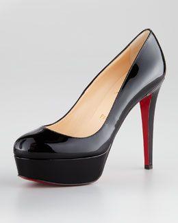 2 inch platform with 5.5 inch heel. Perfect! X1K6P Christian Louboutin Bianca Almond-Toe Platform Red Sole Pump