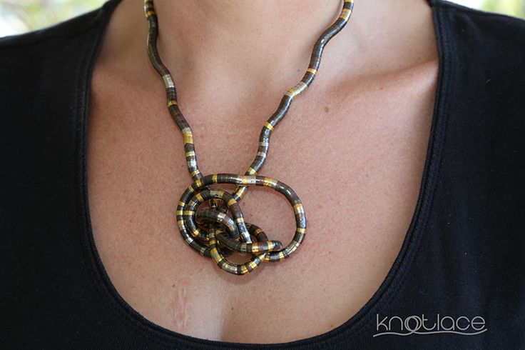 Skinny mixed metal Knotlace as a Knot necklace - http://knotlace.com.au/ #style #fashion #accessory #jewellery