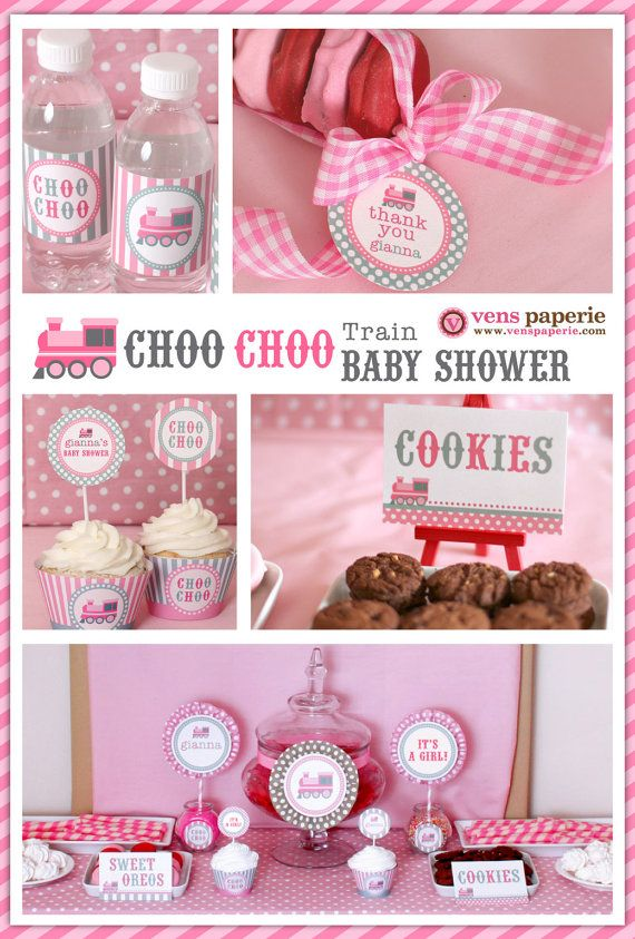 Vintage Pink Choo Choo Train Baby Shower (www.venspaperie.com)