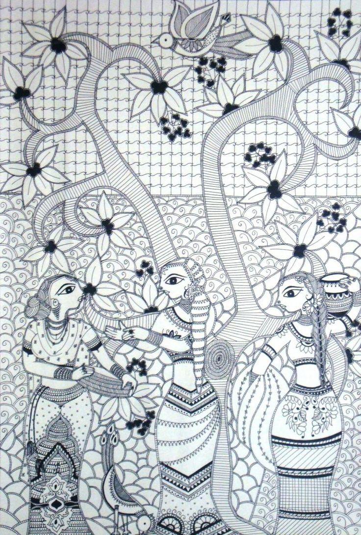 Madhubani Art - Painting by Yoshita Bhatti in My Scrapbook at touchtalent 55688