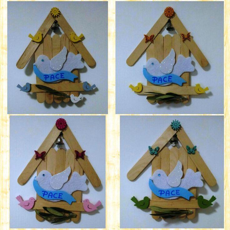 pasqua colomba della pace casetta legno abbassalingua ramoscello ulivo regalo fai da te