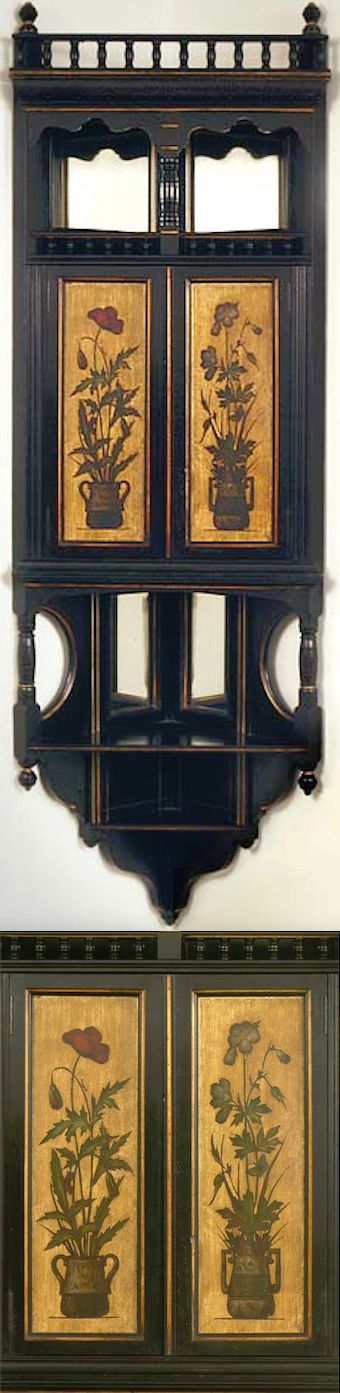 ebonized hanging corner cupboards, (pair), attributed to H. W. Batley, English, c. 1875-1880, H 67, W 22, D 11 in. [Aesthetic Movement, Oriental influence]