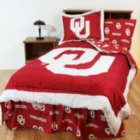 Oklahoma Sooners Bedding in official team colors of red and white with logo for the University of Oklahoma student, alumni or Oklahoma Sooners sports team fan available in king, queen, full, twin, and twin xl sizes.