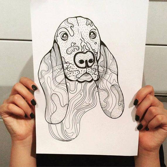 Basset Hound Dog A4 A5 illustration print art dog print by mmuffn
