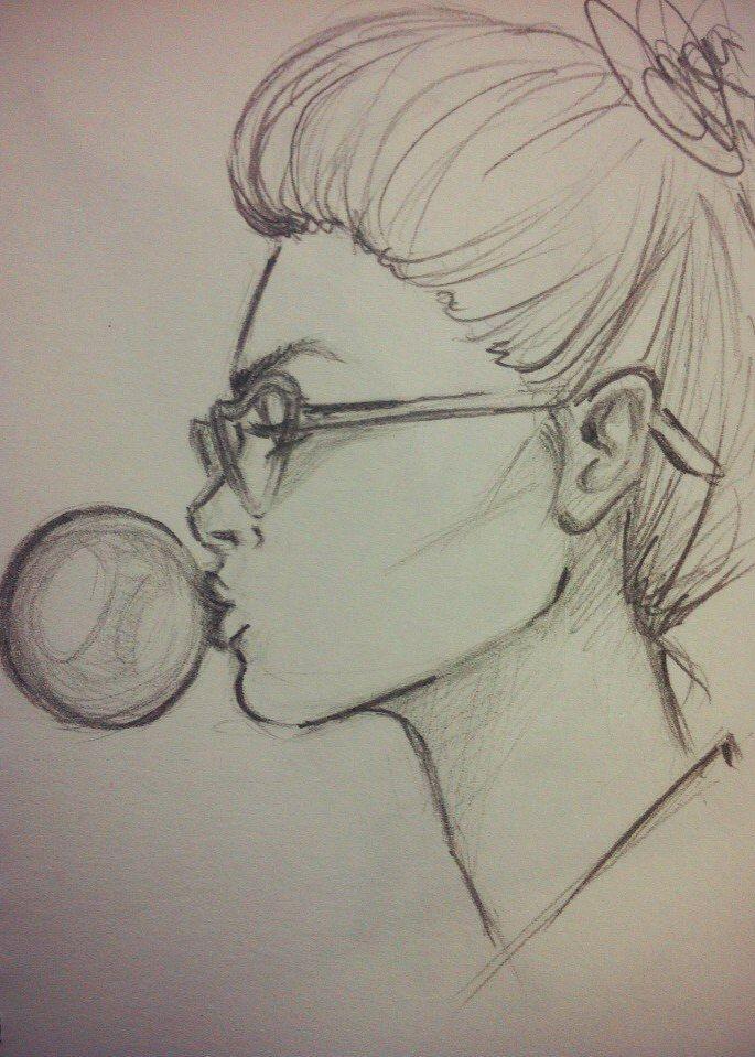 девушка, очки, жвачка, скетч, простой карандаш