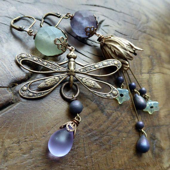 Mismatched Art Nouveau Dragonfly earrings sage by lecoupdegrace
