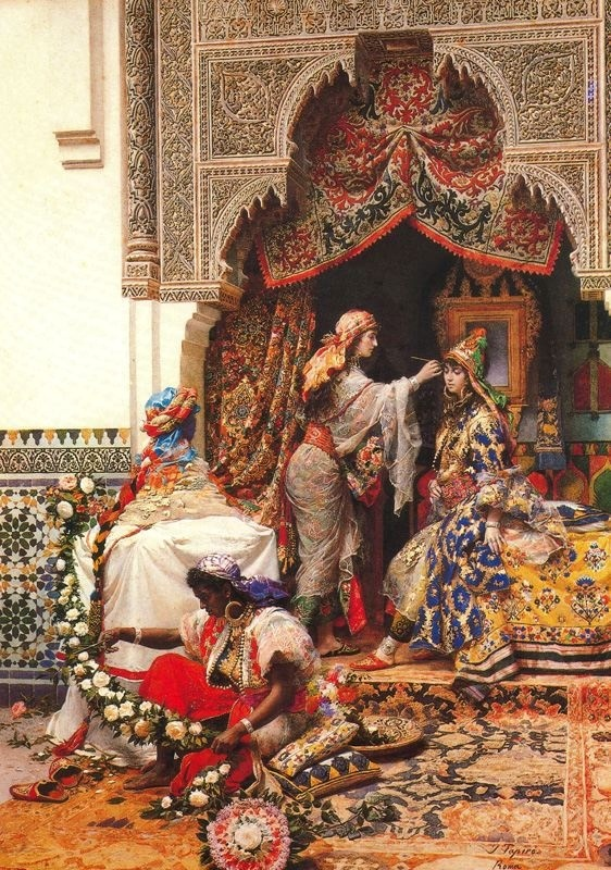 Decorating the bride.  Wedding of the daughter of the Sheriff of Tangier ----- Jose Tapiro Baro