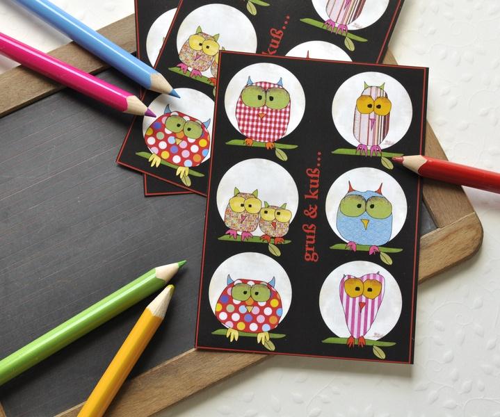 "3 Postkarten ""Eulen"" Owls?"