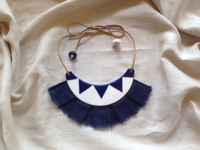 Mary Ted Creative - neck piece from polymer clay with linen fringing and leather strap. - Colour indigo navy and white sparkle with gold leather strap