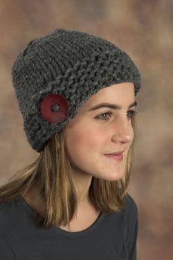 Free PDF Pattern - Mega Button Easy Knit Hat
