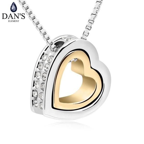Ladies DAN'S ELEMENT Brand Crystals Heart in heart fashion +Shiriza.com crystal pendant necklace crystal from Swarovski jewelry for women