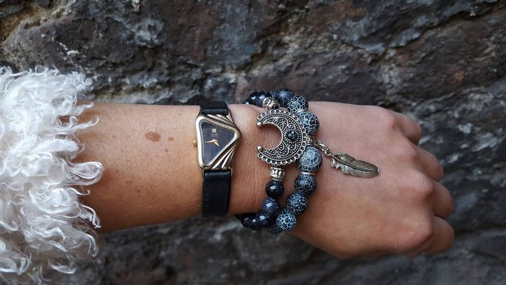 Set of 2 strech, gemstone bracelets. Dark blue fire agate and marble stones with moon and feather charms. Boho style Bohemian Yoga Jewellery