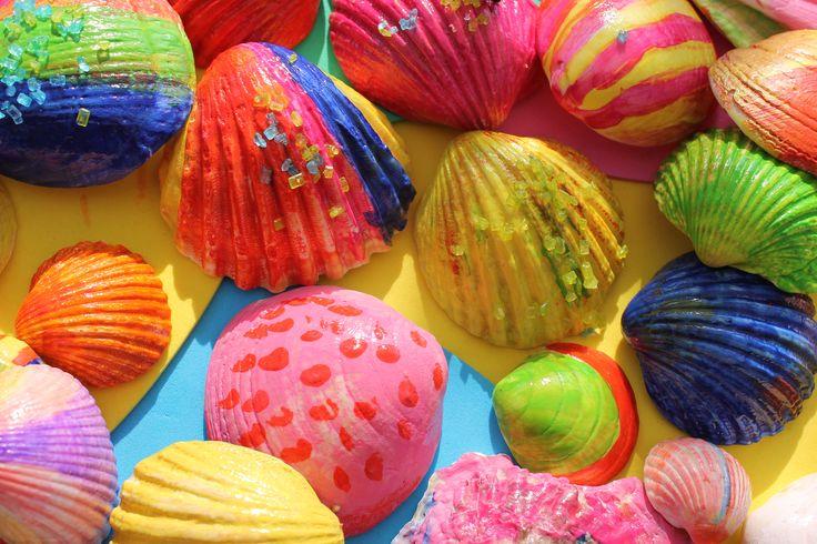 gekleurde schelpen www.funartphone.nl